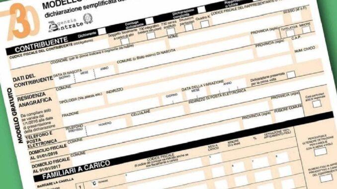 modello 730 2021 senza sostituto d'imposta